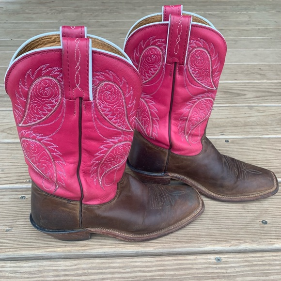 9a24bcbf413 Vintage Tony Lama Pink Cowgirl Boots-7/8